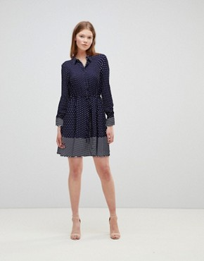 photo Stripe and Spot Shirt Dress by Warehouse, color Blue - Image 1
