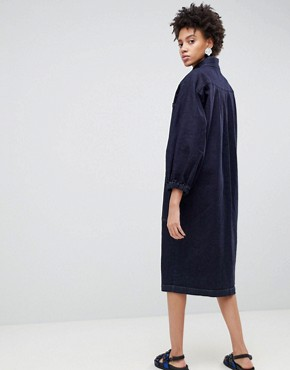 photo Balloon Sleeve Dress by ASOS WHITE, color Blue - Image 2