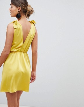 photo Plunge Skater Dress with Tie Shoulder by Silver Bloom, color Yellow - Image 2