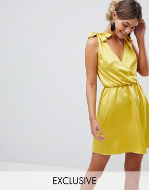 photo Plunge Skater Dress with Tie Shoulder by Silver Bloom, color Yellow - Image 1
