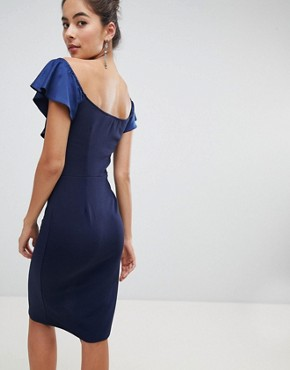 photo Off Shoulder Frill Midi Dress with Split by Silver Bloom, color Navy - Image 2