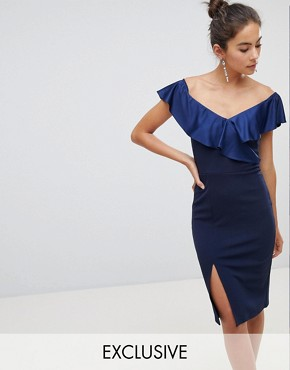 photo Off Shoulder Frill Midi Dress with Split by Silver Bloom, color Navy - Image 1