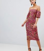 photo Bardot Midi Dress with Puff Sleeves by Silver Bloom, color Multi Leopard - Image 4