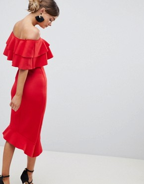 photo Frill Front Bardot Midi Dress by Silver Bloom, color Red - Image 2