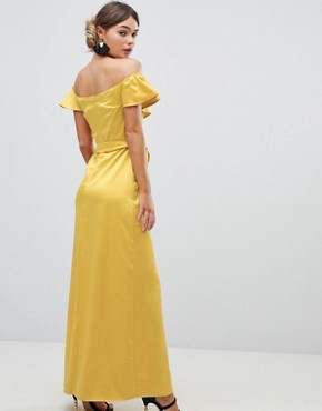 photo Off the Shoulder Frill Maxi Dress with Waist Tie by Silver Bloom, color Yellow - Image 2