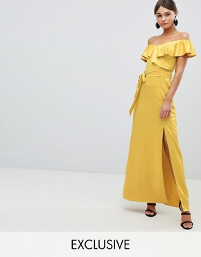 photo Off the Shoulder Frill Maxi Dress with Waist Tie by Silver Bloom, color Yellow - Image 1