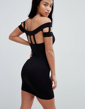 photo Bodycon Dress with Caging Detail by ASOS PETITE, color Black - Image 2