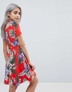 photo Skater Sundress with Button Front and Tie Knot in Hawaiian Print by ASOS DESIGN Petite, color Multi - Image 2