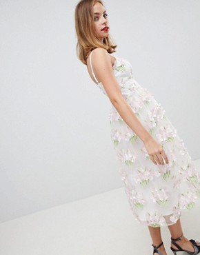 photo 3D Floral Cami Midi Prom Dress by ASOS EDITION Petite, color Pink - Image 2