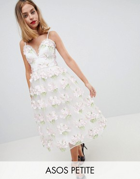 photo 3D Floral Cami Midi Prom Dress by ASOS EDITION Petite, color Pink - Image 1