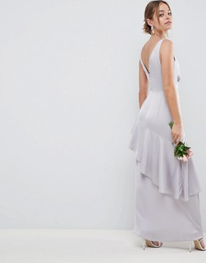 photo Bridesmaid Pearl Trim Strap Maxi Dress with Ruffle Skirt by ASOS DESIGN Petite, color Grey - Image 2