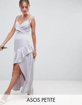 photo Bridesmaid Pearl Trim Strap Maxi Dress with Ruffle Skirt by ASOS DESIGN Petite, color Grey - Image 1
