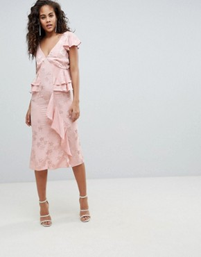 photo Soft Floral Jacquard Midi Tea Dress with Ruffle Hem by ASOS DESIGN Tall, color Nude - Image 2
