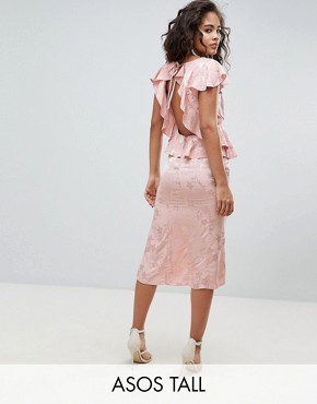 photo Soft Floral Jacquard Midi Tea Dress with Ruffle Hem by ASOS DESIGN Tall, color Nude - Image 1