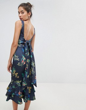 photo Midi Dress in Floral with Frill Hem by True Violet, color Navy Floral - Image 2