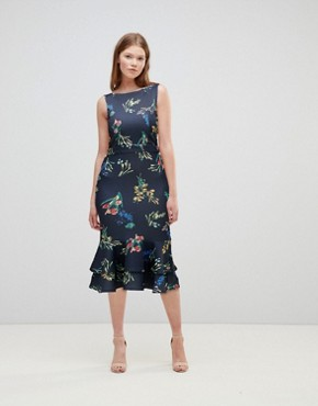 photo Midi Dress in Floral with Frill Hem by True Violet, color Navy Floral - Image 1