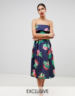 photo Bandeau Midi Skater Dress by True Violet, color Navy Tropical Floral - Image 1