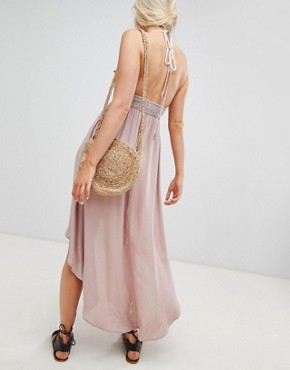 photo Hi Lo Maxi Dress with Crochet Top by Lunik, color Dusty Rose - Image 2