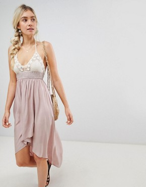 photo Hi Lo Maxi Dress with Crochet Top by Lunik, color Dusty Rose - Image 1