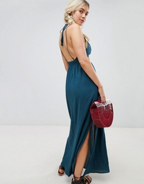 photo Grecian Maxi Dress by Lunik, color Teal - Image 2