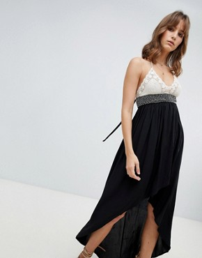 photo Hi Lo Maxi Dress with Crochet Top by Lunik, color Black - Image 1