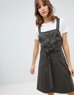 photo Pinafore Dress by Lunik, color Dark Olive - Image 1