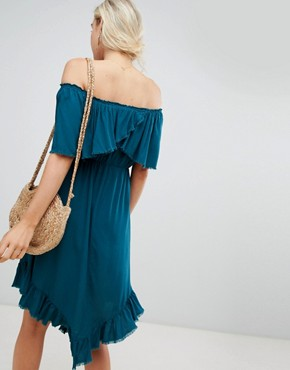 photo Off Shoulder Midi Dress with Hanky Hem by Lunik, color Teal - Image 2