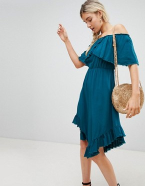 photo Off Shoulder Midi Dress with Hanky Hem by Lunik, color Teal - Image 1