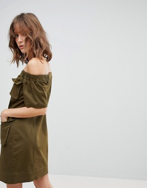 photo Off the Shoulder Utility Dress by Current Air, color Khaki - Image 2