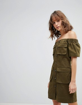 photo Off the Shoulder Utility Dress by Current Air, color Khaki - Image 1