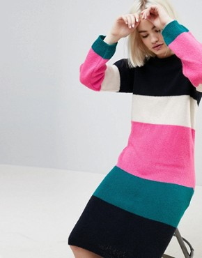 photo Chunky Knitted Dress in Stripe by ASOS, color Multi - Image 3