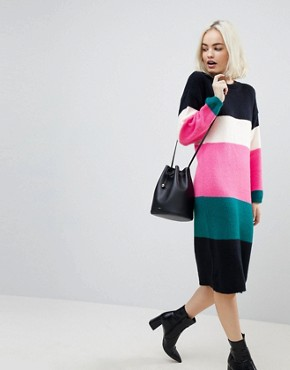 photo Chunky Knitted Dress in Stripe by ASOS, color Multi - Image 4