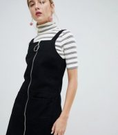 photo Circle Puller Zip Up Denim Pinafore Dress by Chorus, color Worn Black - Image 1