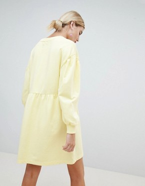 photo Balloon Sleeve Smock Sweat Dress by Chorus, color Zesty Light Yellow - Image 2