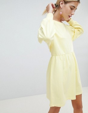 photo Balloon Sleeve Smock Sweat Dress by Chorus, color Zesty Light Yellow - Image 1