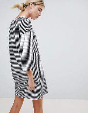 photo Flared Sleeve Striped T-Shirt Dress with Embroidery by Chorus, color Black/White - Image 2