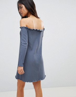photo Babylock Rib Off Shoulder Mini Dress by ASOS, color Charcoal - Image 2