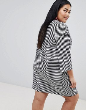 photo Flared Sleeve Striped T-Shirt Dress with Embroidery by Chorus Plus, color Black/White - Image 2