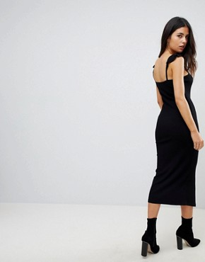 photo Midi Vest Dress with Frill Straps and Popper Placket by ASOS, color Black - Image 2