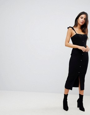 photo Midi Vest Dress with Frill Straps and Popper Placket by ASOS, color Black - Image 1