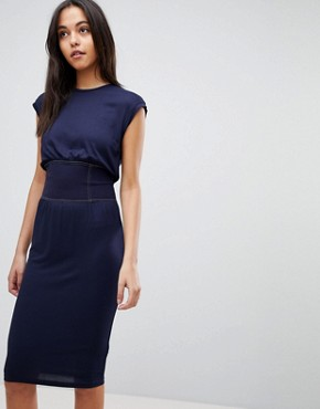 photo Midi Dress with Corset Detail and Contrast Stitching by ASOS, color Navy - Image 1