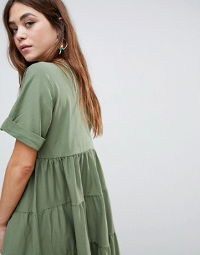 photo Cotton Smock Dress with Panels by ASOS, color Khaki - Image 2