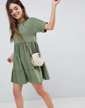 photo Cotton Smock Dress with Panels by ASOS, color Khaki - Image 1