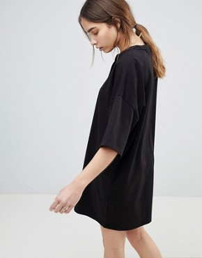 photo Super Oversized T-Shirt Dress with Popper Placket by ASOS, color Black - Image 2