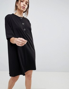 photo Super Oversized T-Shirt Dress with Popper Placket by ASOS, color Black - Image 1