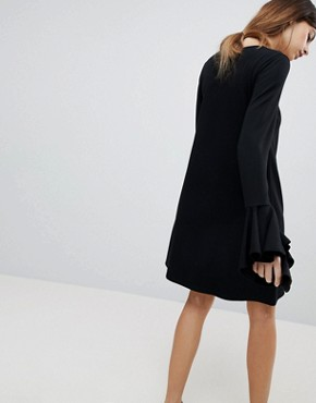 photo Mini Shift Dress in Ponte with Long Sleeves and Frill Cuffs by ASOS DESIGN, color Black - Image 2