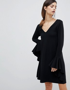 photo Mini Shift Dress in Ponte with Long Sleeves and Frill Cuffs by ASOS DESIGN, color Black - Image 1