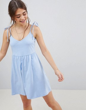 photo Mini Smock Sundress with Tie Straps by ASOS DESIGN, color Chambray - Image 1
