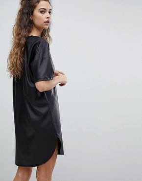 photo Mini Smock Dress by ASOS PU, color Black - Image 2