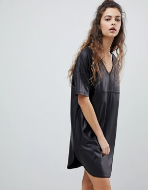 photo Mini Smock Dress by ASOS PU, color Black - Image 1